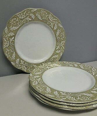 """English Staffordshire  Sterling J.&g. Meakin 10"""" Green Dinner Plates - Set Of 5"""