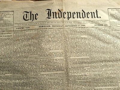 Sept.11, 1856 The Independent, NY Antique Newspaper. w/Anti-Slavery Papal Bull