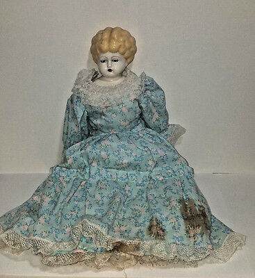 """24"""" Antique Blonde China Head Doll - Low brow head"""