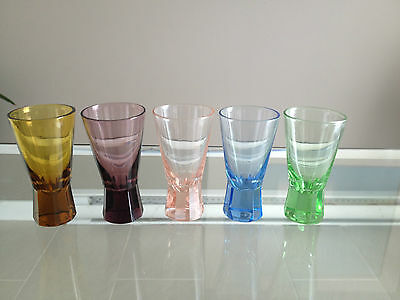 Adorable Multi Colored Vintage Shot Glasses, Unique Shape, Mint!