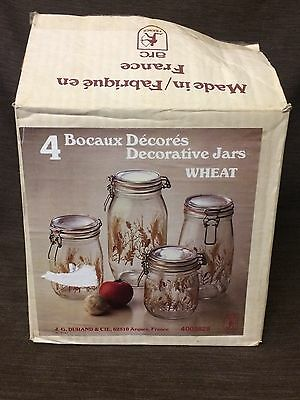 NEW,  SEALED ~ VINTAGE 1970's GLASS WHEAT COMPLETE CANISTER SET ARC FRANCE