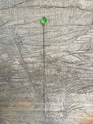 ANTIQUE FACETED GREEN GLASS HATPIN Extra Long Emerald Green NR
