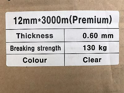 12mm x 3000m  CLEAR Poly Strap 130kg Breakload Strapping Polypropylene Packing