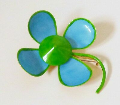 Vintage Original by Robert MOD Blue Green Enamel on Metal Flower Pin Brooch Sign