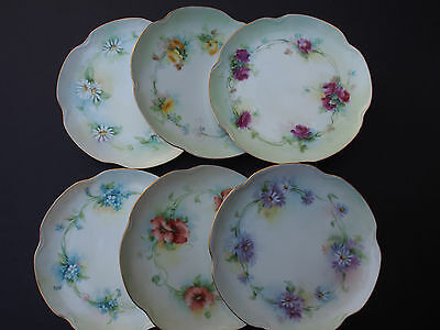 """6 Antique Haviland Hand Painted DIFFERENT Floral Match 6"""" Plates~Daisy Poppy ++"""