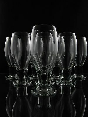 Libbey Mid Century Modern Footed Tumbler Glasses, Set of (8), Fat Stem