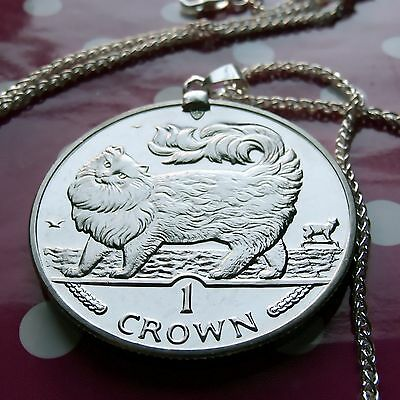"""1993 Maine Coon Isle of Man Crown Pendant on a 24"""" Italian .925 Silver Chain."""