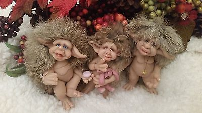 Ooak Fairy, Troll, Gnome, Elf, Woodland Creature, 3 Brothers!!!  Adorable!!!