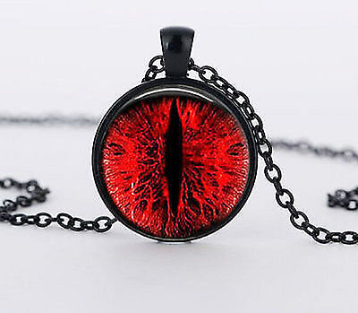 RUBY RED BLOOD EYE BLACK CHAIN DRAGON DEMON EVIL HORROR GOTH Glass Necklace