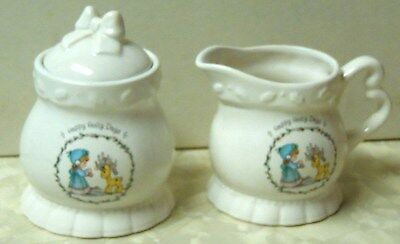 "Precious Moments Enesco Sugar Bowl & Creamer ""Happy Holly Days"" 1994"