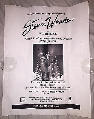 Vintage ORIGINAL Stevie Wonder 1979 Concert Poster MSG NYC Life Plants Tour HUGE