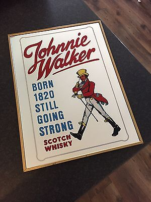 Vintage Johnnie Walker Scotch Bar Mirror Sign Mancave Home Shed Wall Hanging