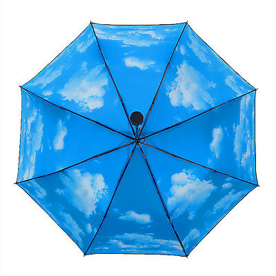 Travel Umbrella Blue Sky Foldable Umbrella Sun Umbrella for Women Man Kids
