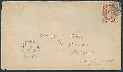 1872 Fort Garry Manitoba to St Thomas, Fancy 'M' Cancel