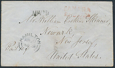 1859 Cross-Border Stampless, Hamilton to Newark NJ, 'Canada Paid 10 Cts.'
