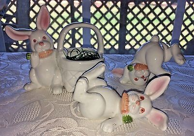 Lot of 3 Vtg 1975 Fitz & Floyd Tumbling Bunnies Japan White Pink Eyes Easter