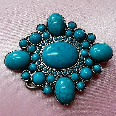 Turquoise Color Silver Tone Belt Buckle