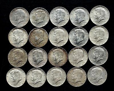 One Roll 1964 Kennedy Half Dollars 90% Silver (20 Coins)   Lot P32