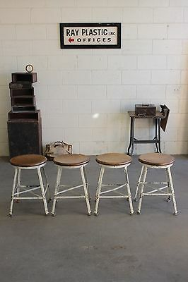 ONE (x1) Vintage Industrial Angle Steel Stool Co Machine Age Chair 4 Available!