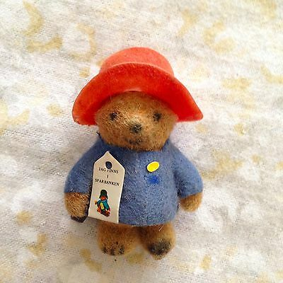 "VTG Miniature Paddington Bear Flocked 2.5"" Suitcase Swedish Tag Sweden Red Blue"