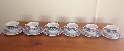 Johnson Brothers Blue Flower Coffee/tea Cups And Saucers X 6 New
