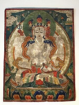 Antique 19th Century Early Tibetan Mongolia Very Fine Thangka Lokeshvara Buddha