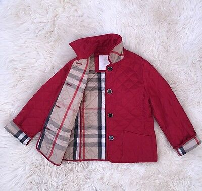 Authentic Girl Burberry Kids Red Nova Check Jacket Coat 6Y