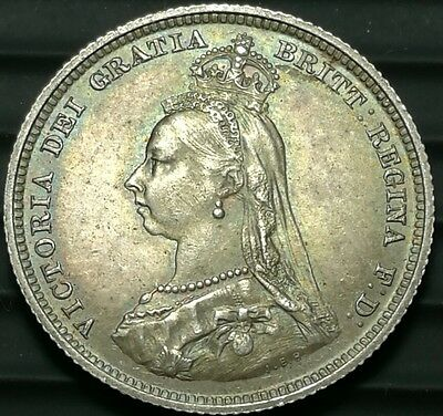 1887 Great Britain Shilling silver Victoria UK coin EF #ch499d