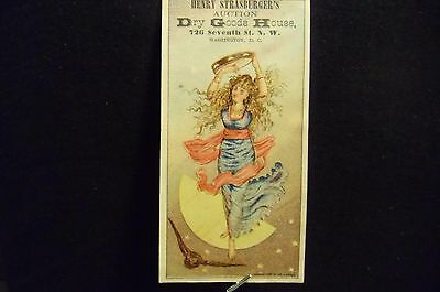 victorian trade card # 5884 - LADY IN BLUE WITH TAMBOURINE