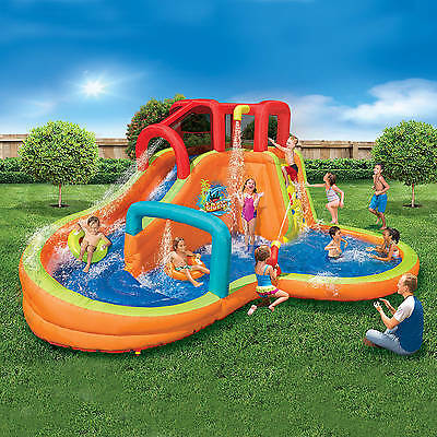 Banzai Lazy River Adventure Park (Backyard Inflatable Waterslide With Cannon