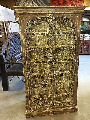 Antique Cabinet Mehrab Teak Doors India Furniture Yellow Rustic Almirah Decor