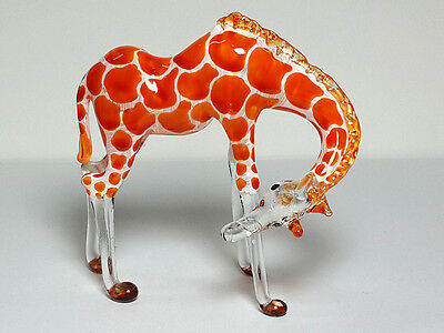 Wildlife Inspiration Collectible MINIATURE HAND BLOWN GLASS Giraffe FIGURINE