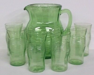 1930's Hocking Depression Circle Green Glass & Pitcher Set / Excellent / Rare