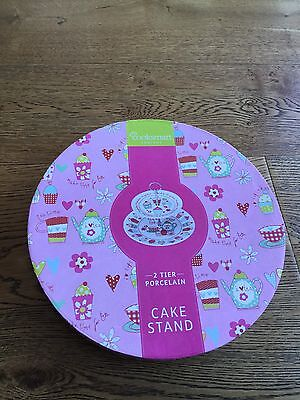 Porcelain Cake Stand - 2 Tier - New Never Used