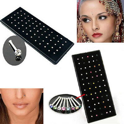 60pc/Lot Crystal Nose Ring Bone Stud Stainless Steel Body Piercing Jewelry Women
