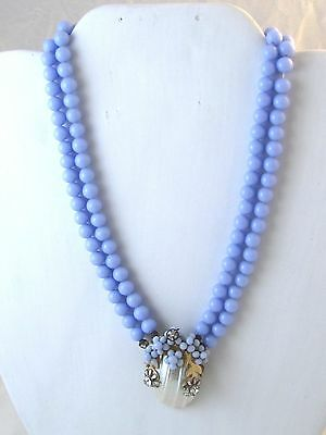 Vintage Miriam Haskell Blue Glass & Shell Necklace