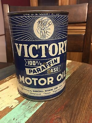 Extremely Rare 1920's Victory Barnsdall Motor Oil Quart Can All Metal