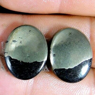 34.75cts NATURAL WONDERFUL APACHE GOLD PAIR OVAL CABOCHON TOP GEMSTONE AFRICA