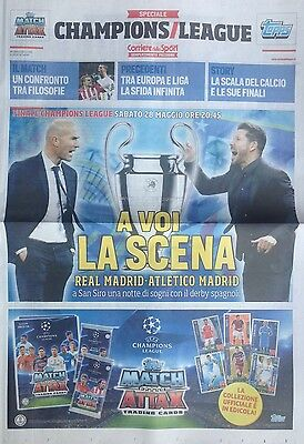 2016 REAL v ATLETICO MADRID CHAMPIONS LEAGUE FINAL ITALIAN NEWSPAPER PROGRAMME