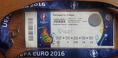 EURO 2016 FINAL PORTUGAL v FRANCE TICKET WITH NAMES WALLET LANYARD