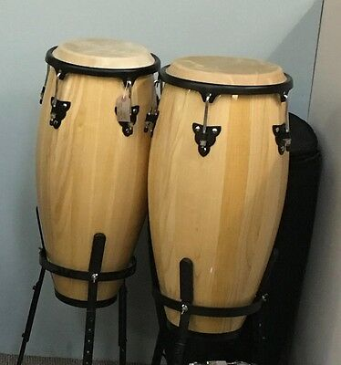 Pair of Congas with stands and soft cases