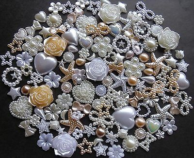 20/50/100 Pearl Mix White/Cream/Ivory Heart Star Flower Bow Cabochon Nail Craft