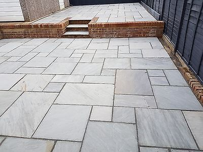 Grey Indian Sandstone Paving Slabs Premium 22mm Calibrated Patio Slabs (19m2)