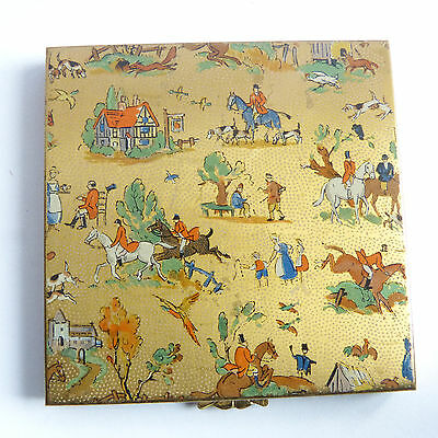 Vintage Compact Powder Case  Hunting Hounds Foxes Dogs Horses