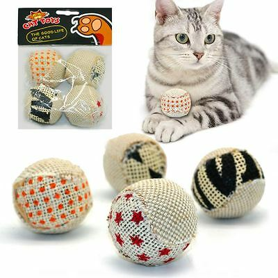 Cat Interactive Pet Play Teaser Toy Rattle Sound 4 Balls Pack
