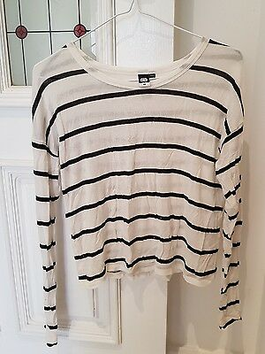 Ladies Womens Long Sleeve Crop Top glassons white and black stripe size M