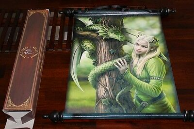 Anne Stokes Scroll Kindred Spirits Elf with Green Dragon