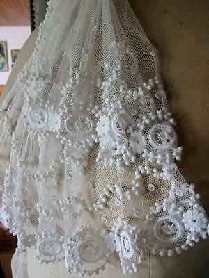 Gorgeous Antique Tulle  Handmade French Knot Lace  Design
