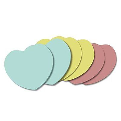 Sticky Notes, Heart Shape Memo Self-Stick Notes, 50 Sheets/Pad 6 Pad / Pack, 3