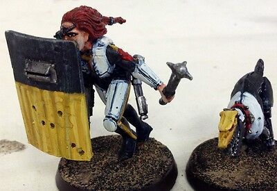 Painted 54mm GW 40k Inquisitor Enforcer Barbaretta and Cyberhound models
